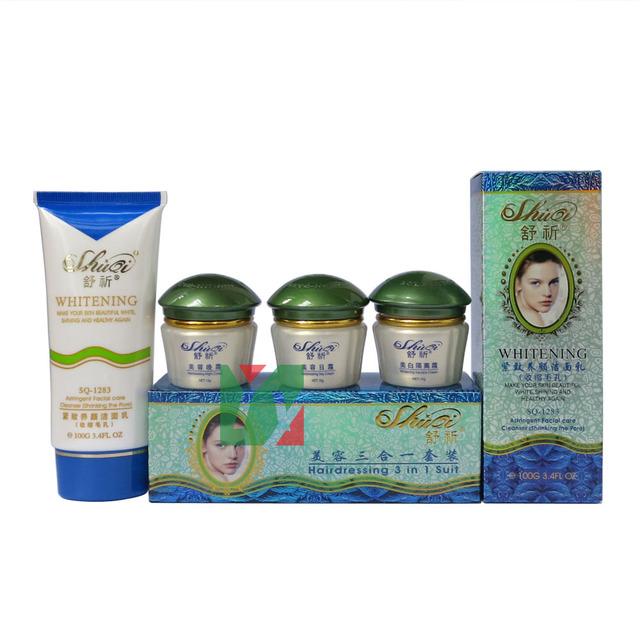 Shiqi belleza blanqueamiento crema para la cara de peluquería 3 en 1 traje de botella pecas eliminación eliminar el pigmento y punto blanco verde cubierta