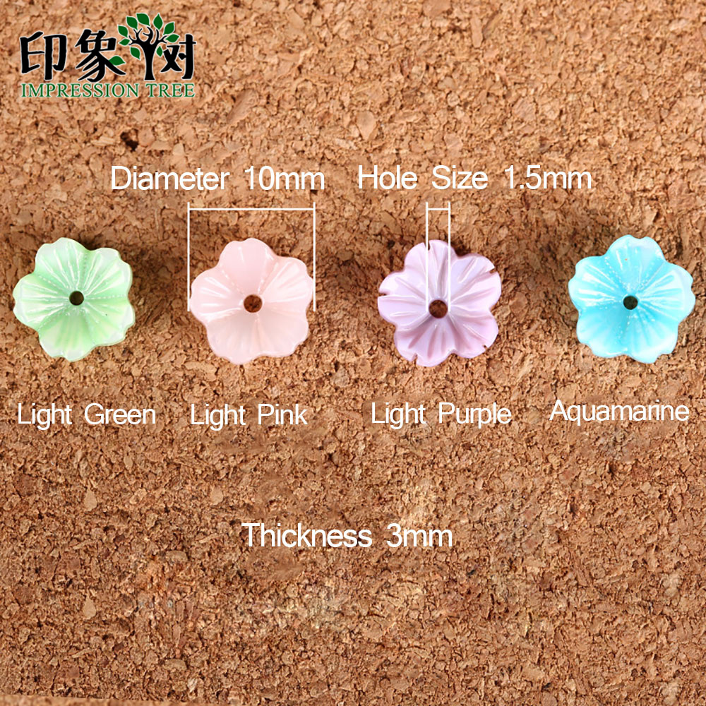 10pcs 10mm Bonito Colorido Flor 3D Grânulos do Escudo Natural MOP Shell Tampas Flor Veia Curvo Spacer Shell DIY jewelry Making 1923