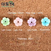 10pcs 10mm Cute Colorful Flower 3D Shell Beads Natural MOP Shell Caps Flower Vein Curved Shell Spacer DIY Jewelry Making 1923(China)