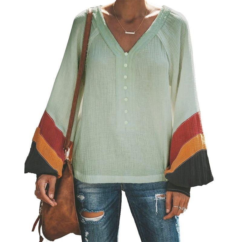 005ebbd411982cf Для женщин Лоскутная футболка s Повседневное V шеи женский футболка  harajuku футболка Шеин с пышными рукавами топ с длинными рукавами