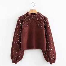 Winter Sweater Women Turtleneck Sweaters Pearl Beading Sweater Warm Lantern Sleeve Women Jumper Pull Knitted Pullovers Bigsweety