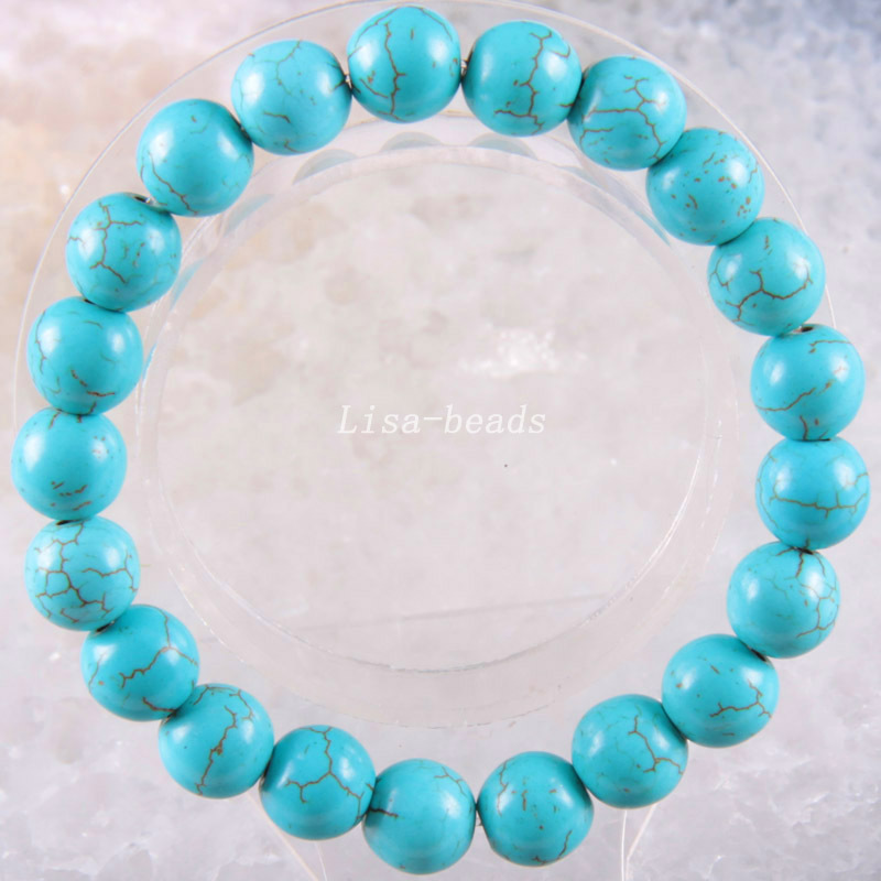 Free Shipping Stretch 10mm Round Beads Natural Stone Blue Veins Howlite Bracelet 8
