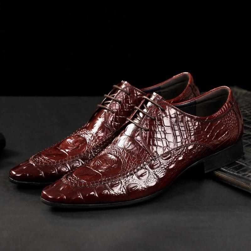 genuíno, sapatos oxford, feitos à mão, italianos, crocodilo