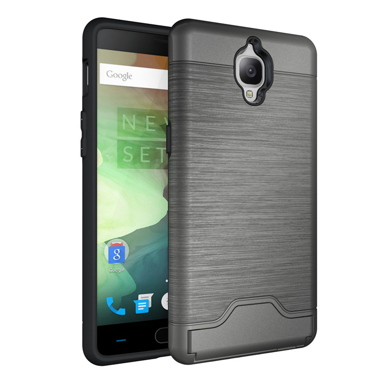 Oneplus 3 Estuche de alta calidad Anti-knock TPU y PC Plástico Dual Armor Cover Brushed Back Cover para teléfono móvil OnePlus 3T