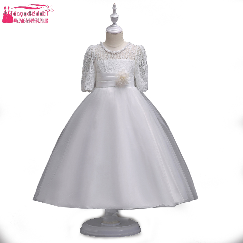 Half Sleeve White Lace   Dresses   Knee Length   Flower     Girls     Dress   For Wedding Party Kids First Cummunion   Dress   Pagent Wear ZF039
