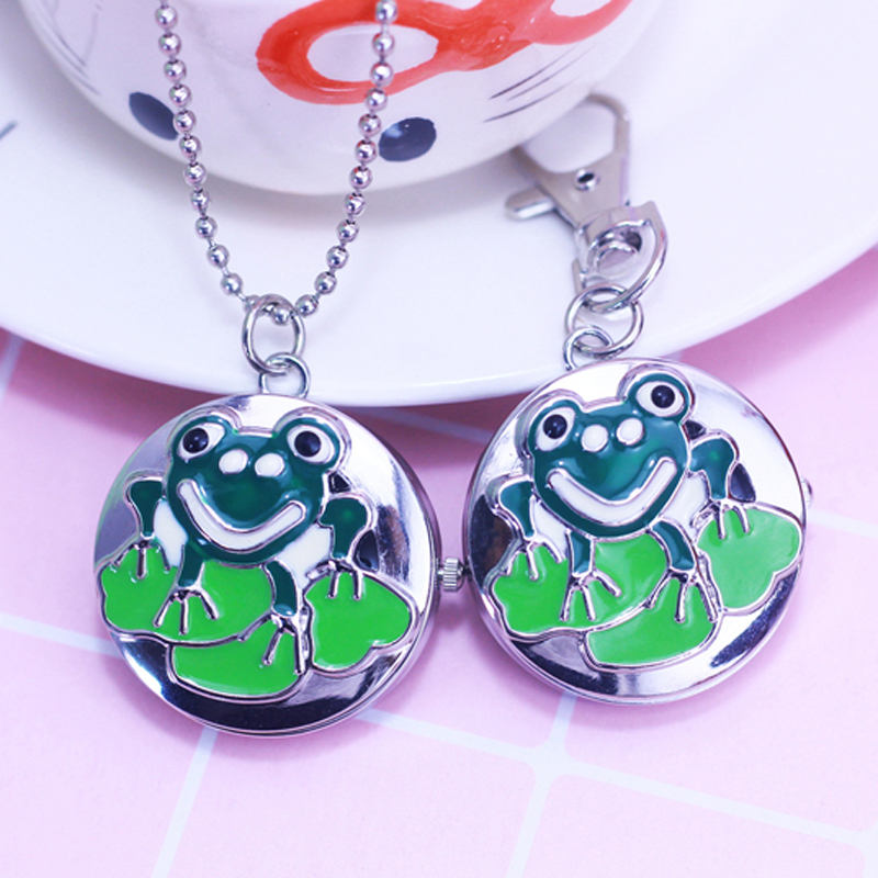 CHAOYADA New Style Cartoon Frog Design Children Necklace Pendant Clock Antique Pocket Watches Necklace Gift