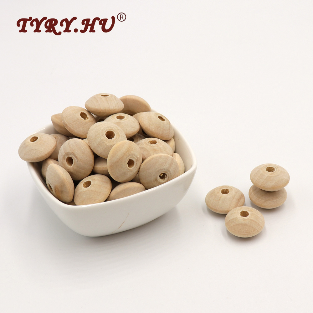 TYRY.HU 20Pcs/Lot Wooden Lentil Abacus Beads Healthy&Friendly Wooden Chewed Beads Baby Teething Toys Jewelry Making Accessories