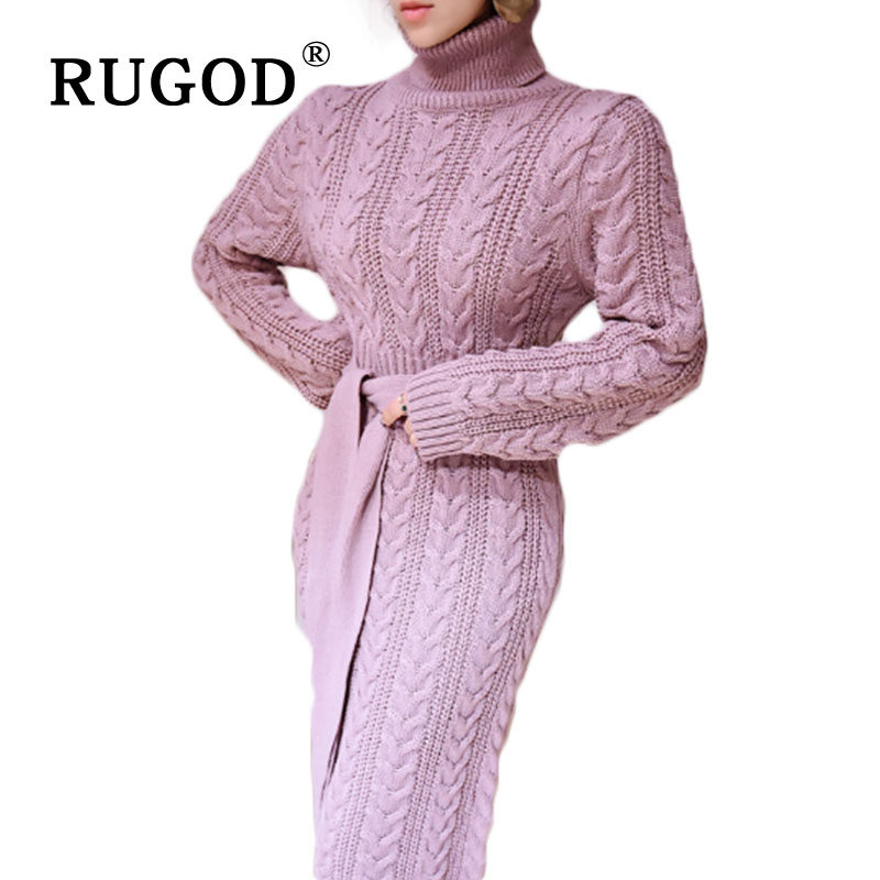 RUGOD Casual Turtleneck Long Knitted Sweater Dress Women Slim Bodycon Dress With Blet Women Pullover Female Autumn Winter Dress
