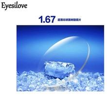 Eyesilove index 1.67 prescription glasses lenses/ extra thin aspheric HC TCM UV resin eyeglasses lenses for myopia