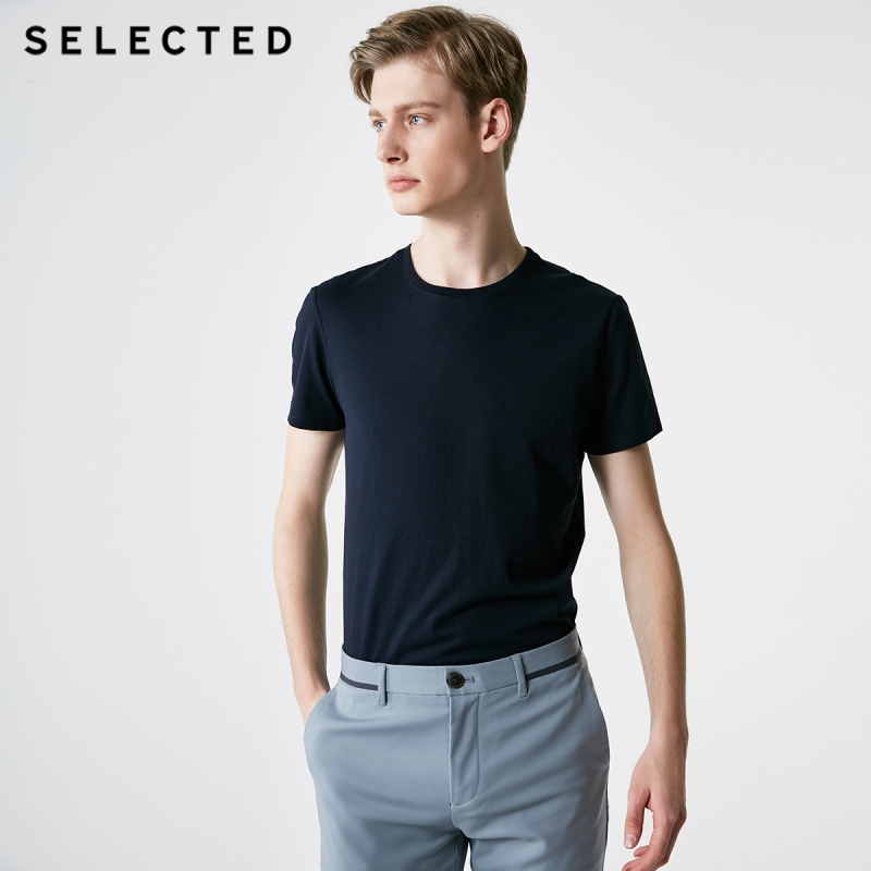 Men's Summer 100% Cotton Pure Color Round Neckline Short-sleeved T-shirt 7