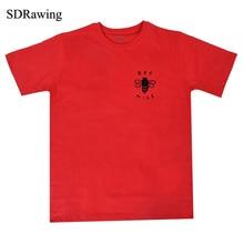 جميل لطيف جيب طباعة تي شيرت نحلة قميص لطيف مضحك إمرأة أو قميص شعار للجنسين لطيفة ودية الرسم المحملة جيب النحل هدية