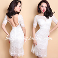 FREE SHIPPING 2016 Summer New Vintage Classic White Middle Sleeve High Wasit Backless Eyelash Lace Halter Slim Dresses Women