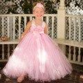 Blush Pink Flower Girl Dress con Diadema de Flores Princesa de Las Muchachas de La Boda de dama de Honor Vestidos Del Tutú Rosa de Lujo vestido de Bola PT290