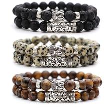 2pcs set Black Lava Stone Prayer Beads Buddha Men Bead Bracelet Beaded Bracelets for Women and Mens Pulseras Masculina