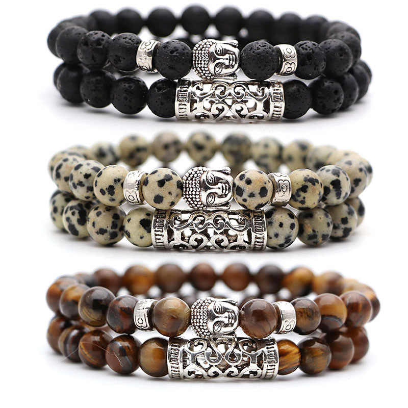 2pcs set  Black Lava Stone Prayer Beads Buddha Men Bead Bracelet Beaded Bracelets for Women and Mens Pulseras Masculina