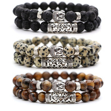 2pcs set Black Lava Stone Prayer Beads Buddha Men Bead Bracelet Beaded