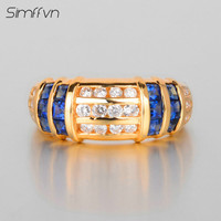 Simffvn Luxulious Style 2 2Ct Sapphire Ring With Natural Diamond Band Stamped By 18K White Gold