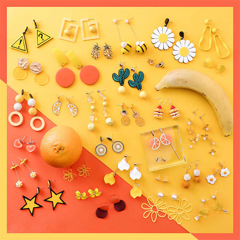 Fashion Summer Orange Fruit Enamel Stud Earrings Korean Women Food cactus Long Tassel Earring Jewelry Sweet Girl pendientes