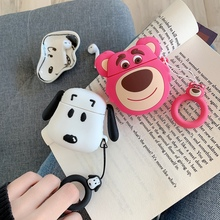 Ring Strap Cartoon Peanuts Dog 3D Pink Bear Lotso Silicone Earphone Case For Apple AirPods 1 2 Headphone Wireless Charging Box