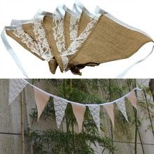 Wedding Party Supplies Vintage Wedding Banner Home Decoration Hessian Fabric Bunting Burlap Cord Jute Rope Photobooth Lace Flag