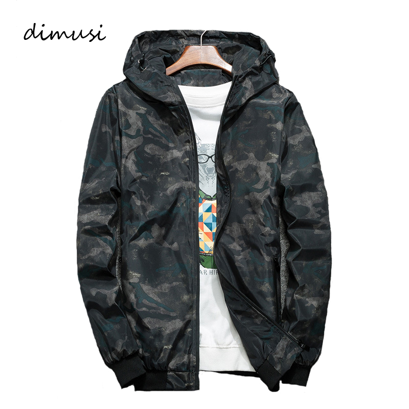 DIMUSI Men's Anorak Jackets Fashion Mens Harajuku Hip Hop Streetwear Jackets Man Camouflage Pullover Hooded Tracksuit Coats 4XL