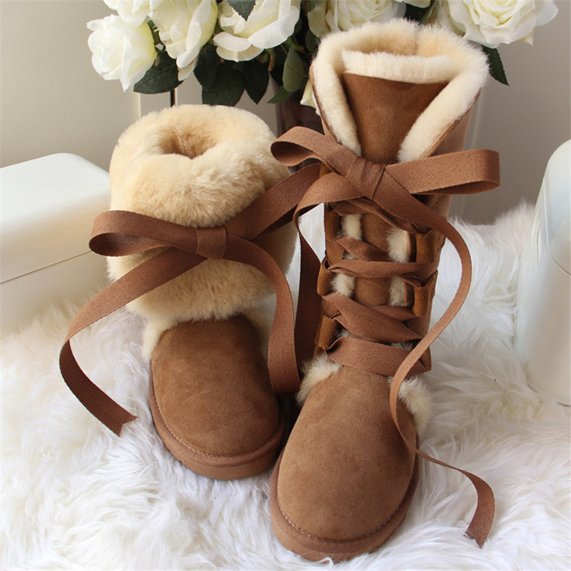 New Arrival 2019 High Snow Boots Genuine Sheepskin Real Fur 100% Wool Women Winter Snow Boots New Brand Boots Free Shipping