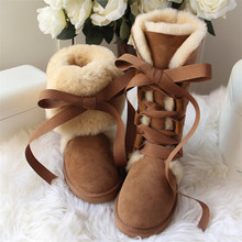 High-Snow-Boots Sheepskin Women Winter Fur Wool Real-Fur Genuine New-Arrival