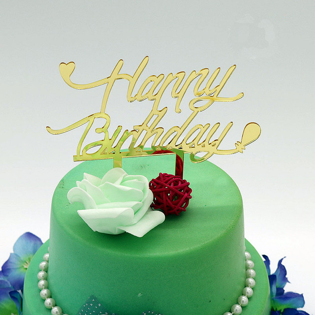 acryl spiegel gold silber happy birthday cake topper kinder baby geburtstag party kuchen dekoration zubehor
