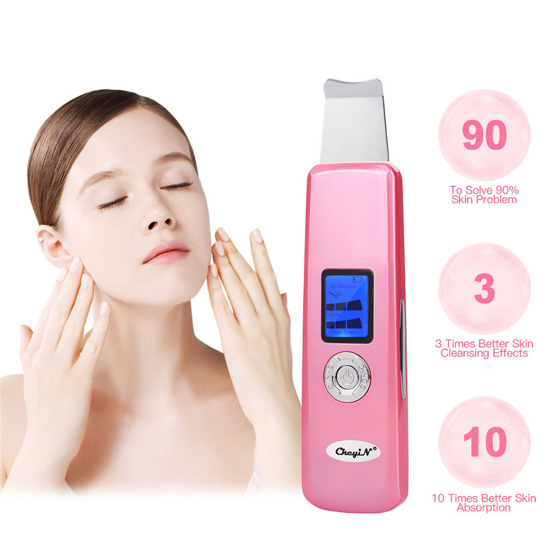 USB Rechargeable Deeply Ultrasonic Face Pore Skin Scrubber Cleaner Beauty Device Ultrasound Vibration Facial Cleansing Peeling