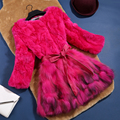 Genuine rex rabbit fur and raccoon dog fur winter coat outerwear women O neck 3/4 sleeve real fur coats and jackets 2017 autumn