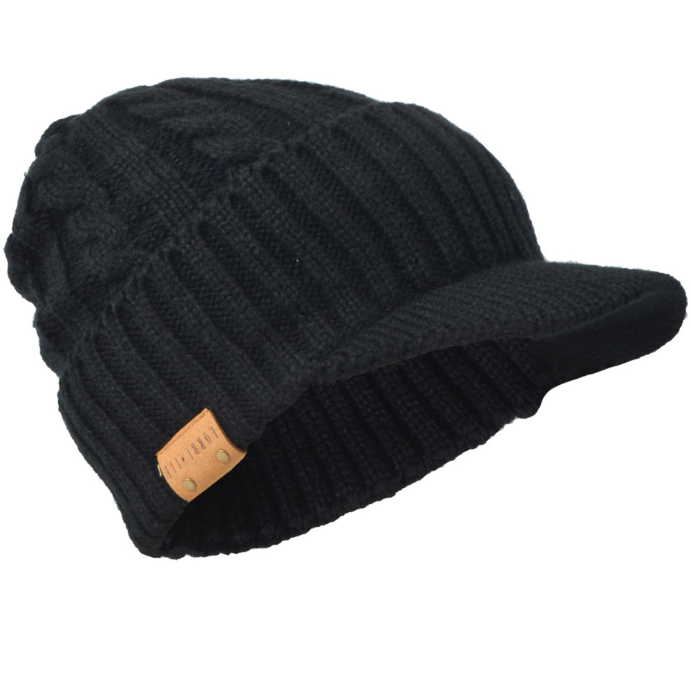 HISSHE clásico para hombre invierno Slouchy canalé grueso forro polar  Newsboy casquillo sólido ocasional visera Beanie cráneo Caps esquí caliente  sombrero 61854f91c15
