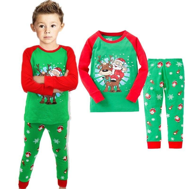 Christmas Toddler Baby Boy Kid Santa Claus Sleepwear Pajama Set Size 2T-7 ...