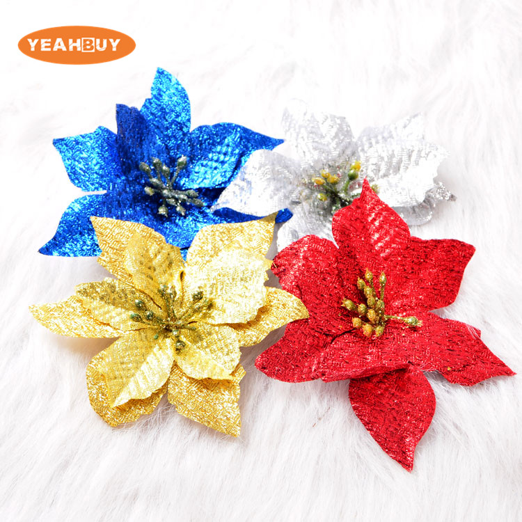 Wholesale 13cm 4 colors christmas flower head artificial silk poinsettia flowers for holiday home decoration christmas supplies in artificial dried wholesale 13cm 4 colors christmas flower head artificial silk poinsettia flowers for holiday home decoratio