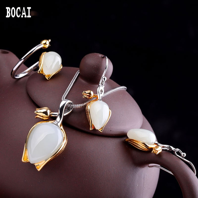 Earrings Jewelry-Set Tulip-Series Hetian-Stone S925-Sterling-Silver Natural Fashion Pop