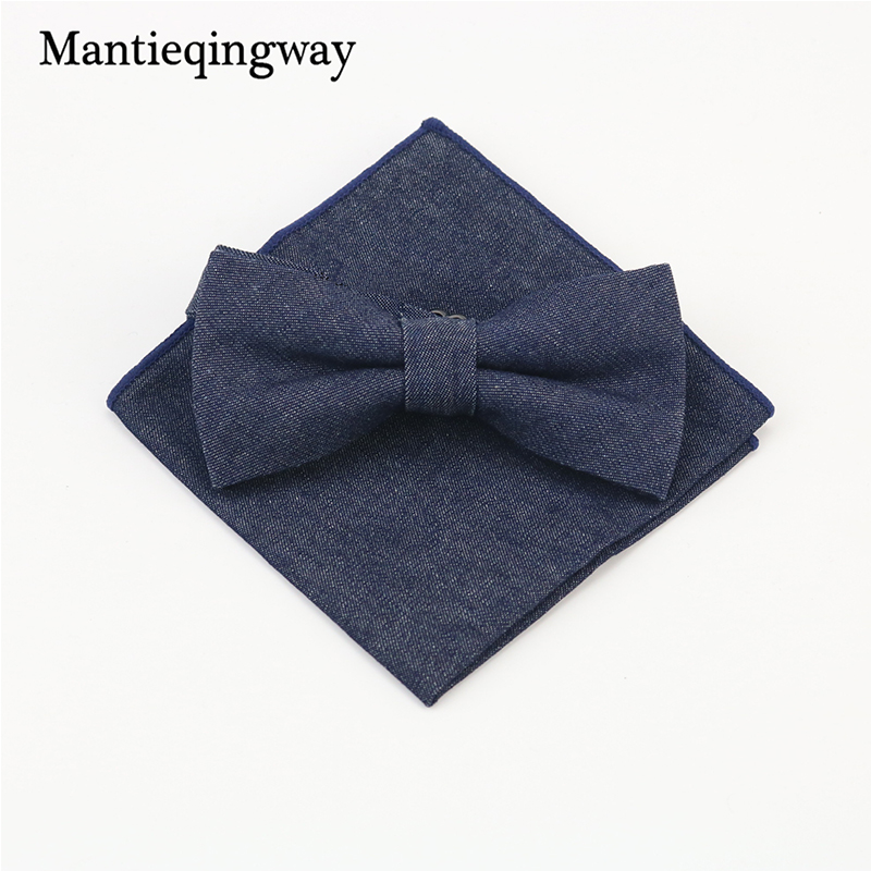 Mantieqingway Brand Bow Tie & Handkerchiefs Set Cowboy Style Denim & Floral Cotton Cravat Bowties & Pocket Square Sets For Men