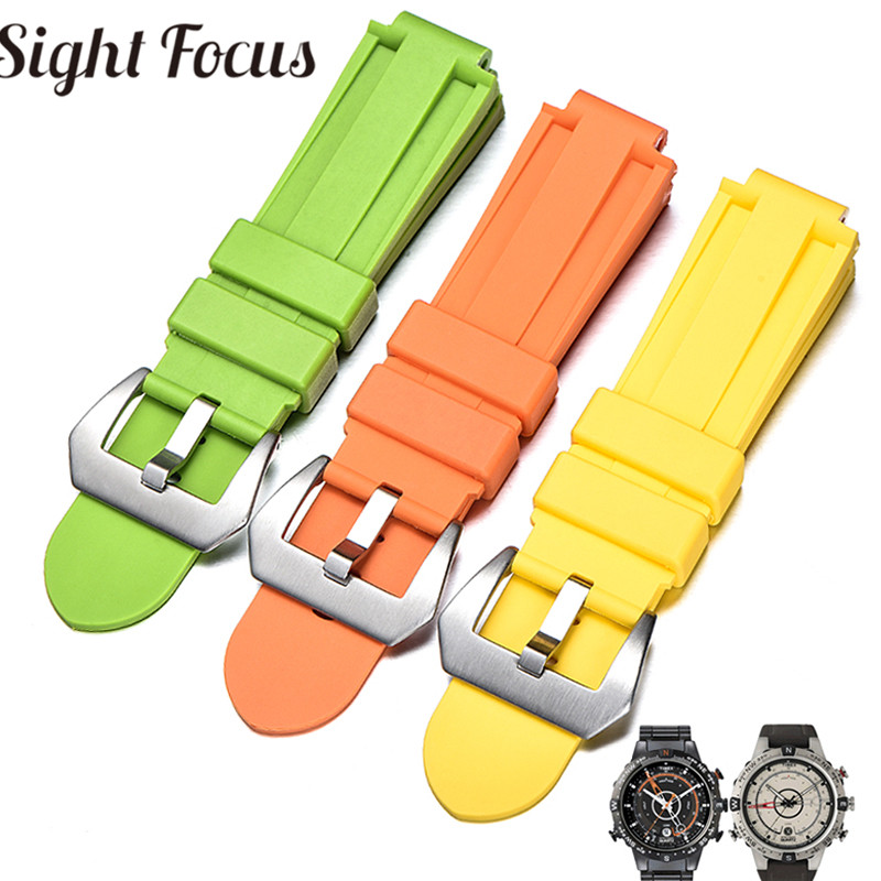 24x16mm Convex End Silicone Strap for Timex IQ Series T2N720 T2p140 Colorful Watch Bands Wrist Bracelet Watch Belt Correa Hombre