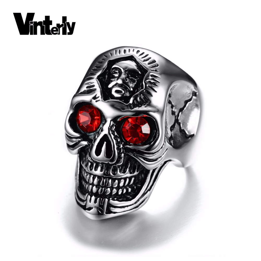 vintage party bike hop punk stainless hiphop findings from goth in item rings gift masquerade rock skull steel jewelry hip music skeleton
