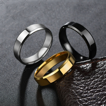 Titanium Steel Black Finger Rings Set For Man Silver Plated Ring For Women Golden-color Jewelry Wedding Ring 1