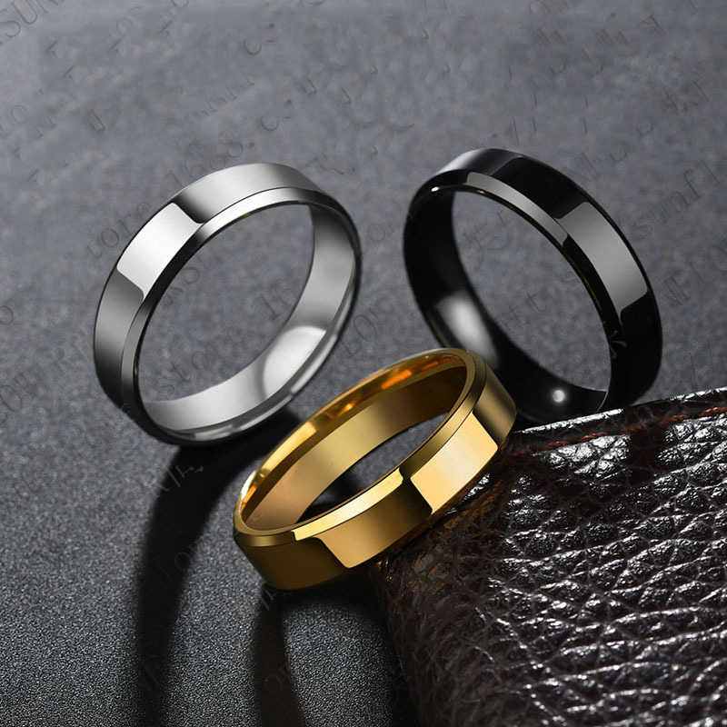 2019 6mm Titanium Steel Black Finger Rings Set For Man Silver Plated Ring For Women Golden-color Jewelry Female Wedding Ring