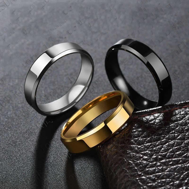 2020 6mm titanium aço preto anéis de dedo definido para o homem prateado anel banhado a ouro-cor jóias anel de casamento feminino