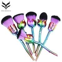 6ピース化粧ブラシキットローズ花型化粧ブラシセットパウ