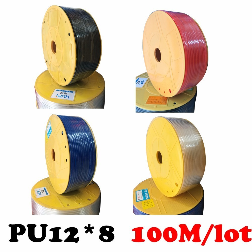 PU12*8 100m/roll PU PU pipe, pneumatic hose, air compressor, trachea, ammonia tube pipe to air compressor pneumatic component air compressor 1 2bsp 2 way hose pipe inline manifold block splitter teal blue