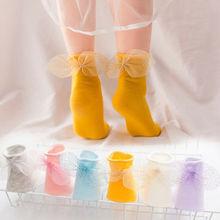 купить Baby Girls Socks Newborn Toddler  Baby Girls Solid Bow Socks Princess Mesh Children Breathable Soft Cotton Knee High Hosiery дешево