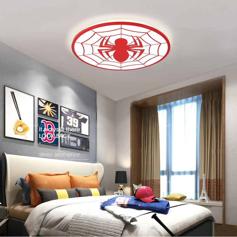 Spiderman Red Color Modern Led Ceiling Lights Deco Chambre Garcon Avize With Remote Control Plafondlamp Kids Room Light Lamp