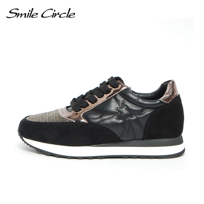 Smile Circle Spring Autumn Sneakers Women Lace-up Flat Shoes for Women Fashion Rhinestones Casual Platform Shoes Flat shoes girl smile circle spring autumn women shoes casual sneakers for women fashion lace up flat platform shoes thick bottom sneakers