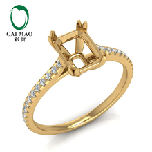 Caimao 6x8mm Emerald Cut 14k Yellow Gold 0.23ct Natural Full Cut Diamond Ring Claws caimao jewelry natural red ruby with pearl and diamond engagement 14ct yellow gold pendant