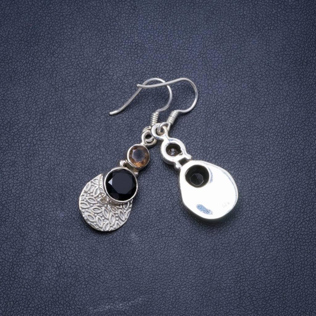 Natural Black Onyx and Smoky Quartz Handmade Unique 925 Sterling Silver Earrings 1.5 Y1227 dc shoes 50