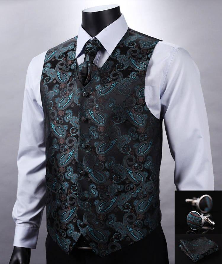 Ve11 Green Black Paisley Top Design Wedding Men 100 Silk