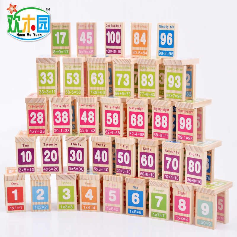 Дети деревянное домино игрушка обучения Образование сложение вычитания 100 шт. рисунок блок домино Детские математика обучения игрушка