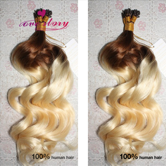 Blond Fusion Hair Extension 8a Ombre Remy Human Hair I Tip Brazilian